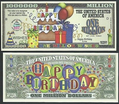 Happy Birthday Wishes Million Dollar Bill Funny Money Novelty Note + FREE SLEEVE