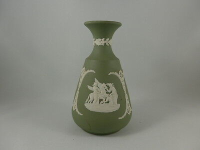 Wedgewood Jasperware -  Cream on Celadon Green Bud Vase