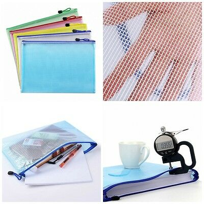 Plastic Zip Document Filing Folder Bag Storage Pouch with A4 File Size Paper 5Pc