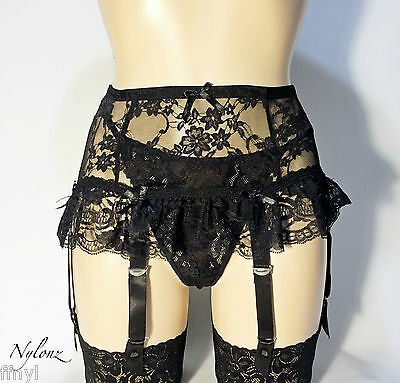 6 Strap Luxury Flirty All Lace Suspender Belt Black (Garter Belt) L / XL