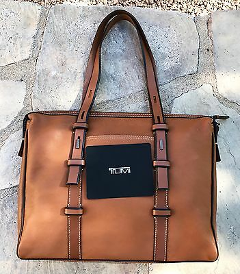 NEW Tumi Golden Brown Leather Brief Case Lap Top & Tote NORDSTROM