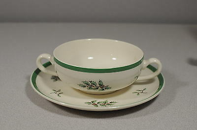 Spode Double Handle Cream Soup Bowl & Saucer Christmas Tree  A