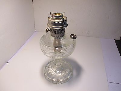 """Vintage ALADDIN Clear Glass Textured Oil Lamp Base & Wick no Top 13"""""""