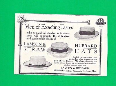 1908 Print Ad for LAMSON & HUBBARD STRAW HATS for MEN OF EXACTING TASTES