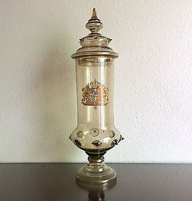 Antique Theresienthal Glass Lidded Beaker Sweden Norway Union Coat of Arms 17""