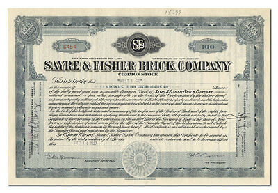 Sayre & Fisher Brick Company Stock Certificate (New Jersey)
