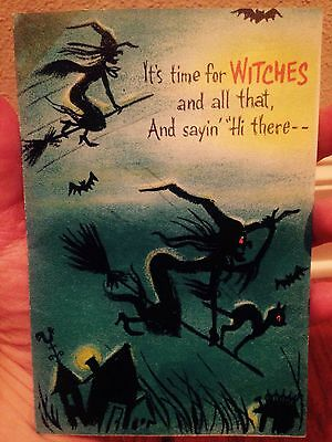 Vintage Hallmark Halloween Pop Up Bat Greeting Card Witch Black Cat Spooky Bats