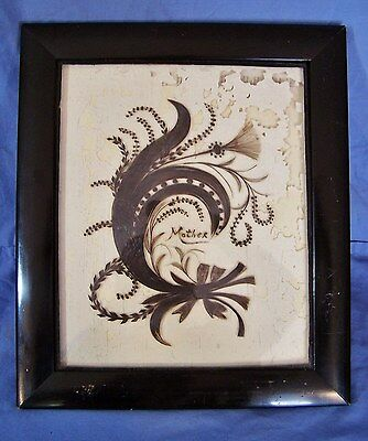 RARE Antique Victorian Mourning /Funereal Hair Art Wreath Foster RI FRAMED c1900
