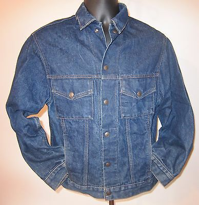50s Vtg Boyville Outerwear Sears Blue Denim Snap Jean Jacket Youth 18 20 Women M
