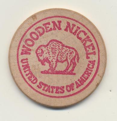 Vintage Wooden Nickel Mini Mart 5¢ On Any In Store Mdse  Red Ink Buffalo Bison