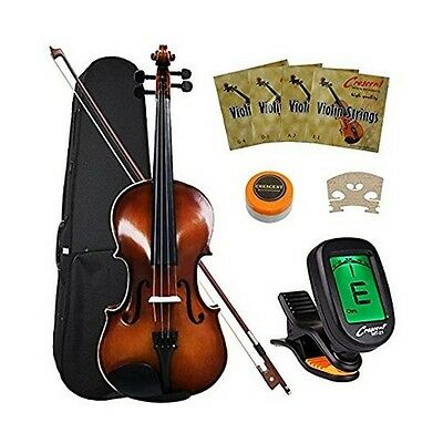Violin Starter Kit Acoustic Bow Case Full Fiddle Natural Size Solid Student NEW