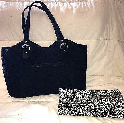 Vera Bradley Black Microfiber Quilted Make a Change Diaper Bag & Changing pad