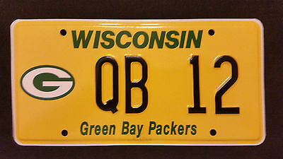 Wisconsin Green Bay Packers Qb-12 License Plate ** The Real Deal!! ** Dmv Issued