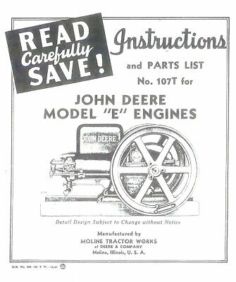 John Deere E hit & miss engine parts list instructions