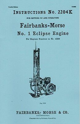 Fairbanks Morse No. 1 Eclipse Gas Engine Motor Instruction Manual 2204K