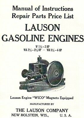Lauson Gas Engine Motor Instruction Manual Parts List Wico Magneto