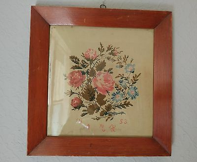 Antique Victorian Needlework Sampler 19th Century 1853 Original Frame Roses LOOK