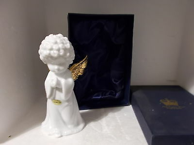 BOXED OLD TUPTON WARE WHITE & GOLD ANGEL FIGURE / FIGURINE ( 15.5cm high)