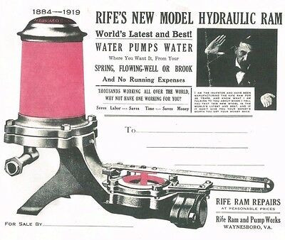 Rife's New Model Hydraulic Ram Water Pump Waynesboro Virginia 1884-1919 Book