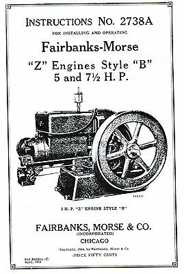 Fairbanks Morse Z B Engine Motor 5 & 7.5hp Book Manual Hit Miss Spark Plug 2738A