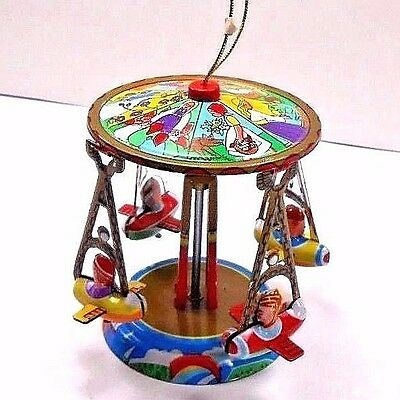 "Schylling Tin Toy Vintage Carousel Reproduction 1995 Plane Ride 3"" in Box"