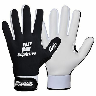 Grip Active Premium Quality Gaelic Football Gloves Black With White Latex- Adult