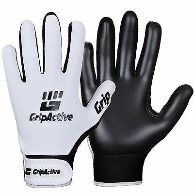 Grip Active Premium Quality Gaelic Football Gloves - White And Black - Adult