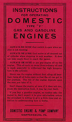 Domestic Type F Gas Motor Engine Instruction & Pump Co Manual Book Pump Hit Miss