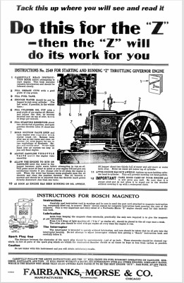 Fairbanks Morse Z Engine Wall Chart Hit & Miss Gas Motor Spark Plug Flywheel