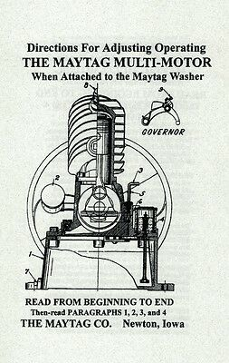 Directions for Maytag Multi-Motor Gas Engine Wringer Washer Motor Hit Miss