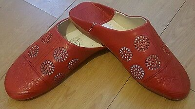 Moroccan womens leather slippers babouche size UK5 (38 ) handmade RED