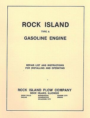 "Rock Island Type ""A"" Gasoline Engine Book Gas Motor Flywheel Parts List"