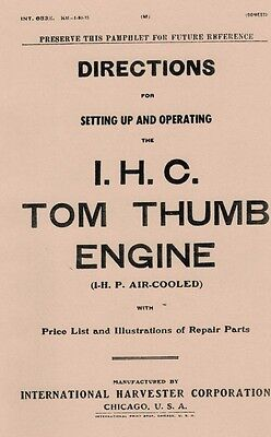 International Tom Thumb Engine 1 H.P Air-Cooled Gas Engine Motor Book