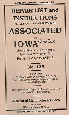 Iowa Over Size Power Associated 2 - 18 HP Gas  2 1/2 - 18 H.P Kerosene Book