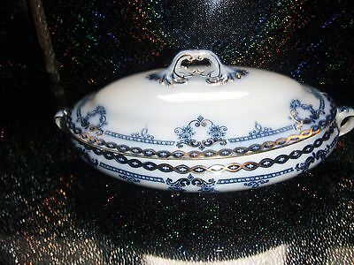 LARGE TUREEN ANTIQUE FORD & SONS LTD REGENT PATTERN BLUE WHITE & GILT V G Cond*