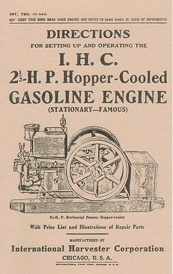 International IHC 2 1/2 H.P Hopper Cooled Engine Direction Book Gas Motor