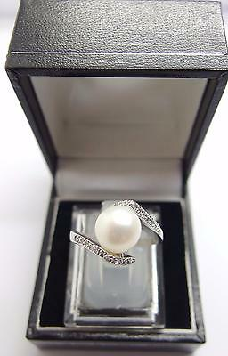 925 Sterling Silver White Freshwater Cultured Pearl Ring Size P UK 7.5 US #I