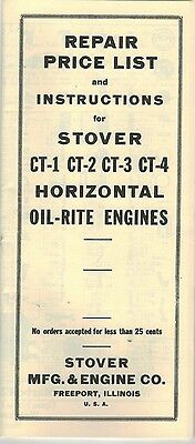 Stover  CT-1 2 3 & 4 Horizontal Oil Rite engine Repair list Instruction Book