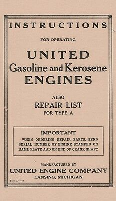 United Gasoline Kerosene Engine Type A Instruction Book Manual Motor Parts LIst