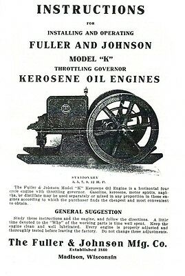 Fuller & Johnson Model K Kerosene Oil Engine Instruction Book Motor Throttle