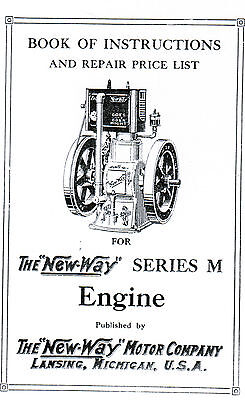 New Way Gas Engine series M instruction book Manual Hit Miss Motor Stationary