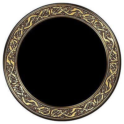 "Celtic Snakes Round Scrying Mirror,8"" Dia. Acrylic,Protective Microfiber Sleeve"
