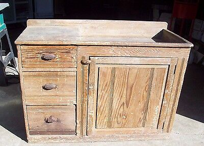 Rare 1800's Antique Rustic Solid Wood Dry Sink Wash Stand Cabinet Table