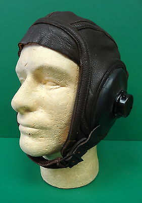 1943 Naval Aviator'S Leather Flying Helmet W/anb-H-1A Recivers