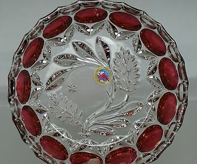Hofbauer Lead Crystal Cranberry Red Byrde Collection Bowl