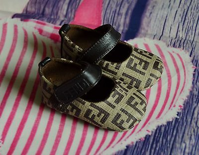 New!!! FENDI Zucca Print Baby Girls Designer Shoes Newborn Size EU 15