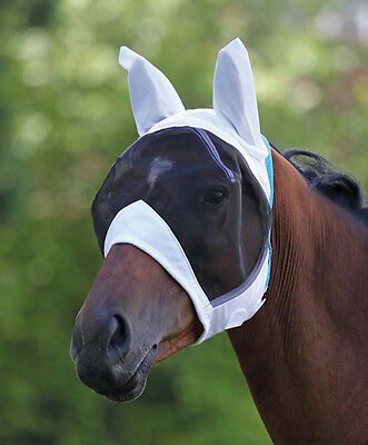 Shires Mesh Fly Mask with Ears-White-Extra Full