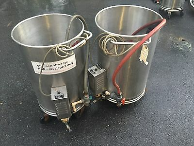 LOT OF 2 Oscar Fisher Stainless Steel Chemical Portable Mixer Tank 28 Gallons