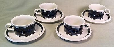 ARABIA Anemone CUPS & SAUCERS Set of 4 Hand Painted Blue Finland