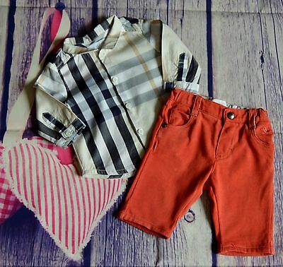 Burberry Baby Boys Designer Clothes Bundle Checked Shirt Red Soft Pants 1 Month